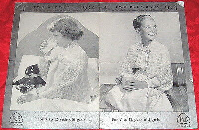 PATONS 3 PLY Knitting Pattern..1950's BEDWRAPS BED JACKETS VINTAGE