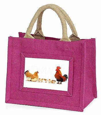 Hen, Chicks and Cockerel Little Girls Small Pink Shopping Bag Christm, AB-107BMP