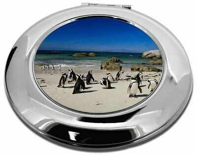 Beach Penguins Make-Up Round Compact Mirror Christmas Gift, AB-89CMR