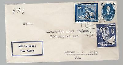 1952 East Germany DDR Cover to USA # 63 70 91