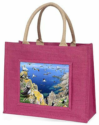 Puffins and Sea Bird Montage Large Pink Shopping Bag Christmas Present, AB-93BLP