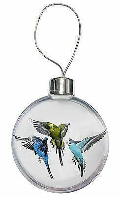 Budgerigars, Budgies in Flight Christmas Tree Bauble Decoration Gift, AB-94CB