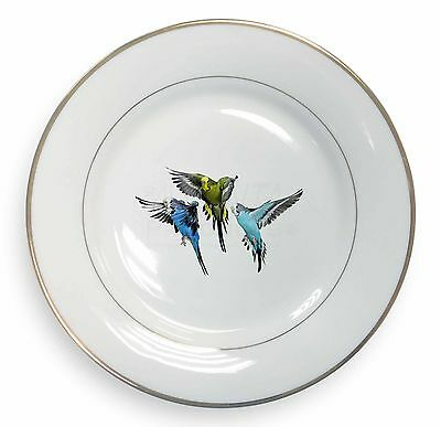 Budgerigars, Budgies in Flight Gold Rim Plate in Gift Box Christmas Pre, AB-94PL