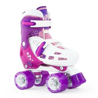 SFR Storm II Kids Adjustable Roller Skates White/Purple/Pink