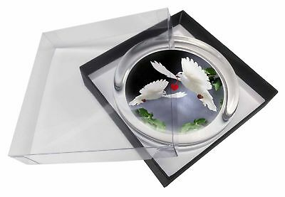 Two White Doves+ Red Heart Glass Paperweight in Gift Box Christmas Pres, AB-D6PW
