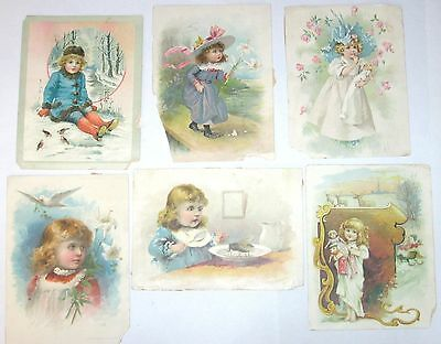 Antique/Vtg 1880s Victorian Trade Card Lot 6 Lrg Woolson Spice Lion Coffee Girls