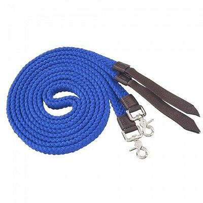 Tough-1 Flat Cotton Split Reins - Royal Blue - 7ft