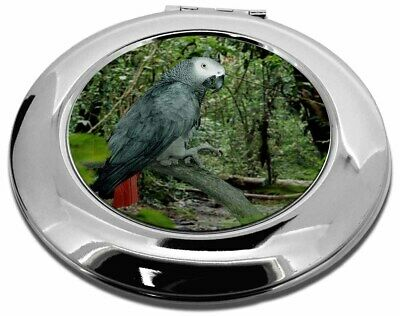 African Grey Parrot Make-Up Round Compact Mirror Christmas Gift, AB-PA76CMR