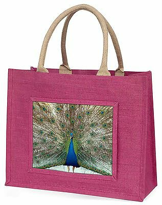 Rainbow Feathers Peacock Large Pink Shopping Bag Christmas Present I, AB-PE13BLP