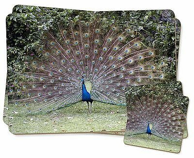 AB-PE13PC Rainbow Feathers Peacock Twin 2x Placemats+2x Coasters Set in Gift Bo