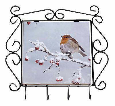 Robin on Snow Berries Branch Wrought Iron Key Holder Hooks Christmas G, AB-R23KH