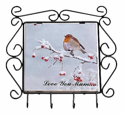 Snow Robin 'Love You Mum' Wrought Iron Key Holder Hooks Christmas G, AB-R23lymKH