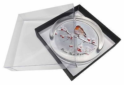 Snow Robin 'Love You Mum' Glass Paperweight in Gift Box Christmas P, AB-R23lymPW