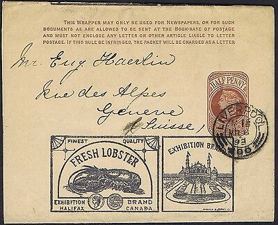 1893 1/2d Postal Stationery superb FRESH LOBSTER SALMON Advertising Envelope