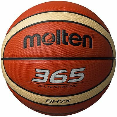 Molten 365 Indoor Outdoor 12 Panel Leather Basketball Sizes 5, 6, 7