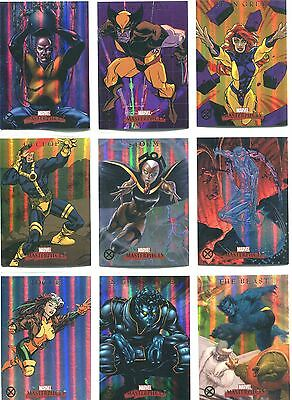 Marvel Masterpieces 2007 Complete X-Men Foil Parallel Chase Card Set X1-X9