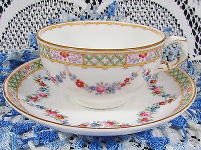 Royal Worcester Hand Painted Floral Swags Tea Cup And Saucer