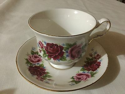 Queen Anne Bone China Cup And Saucer England   White/pink/redroses