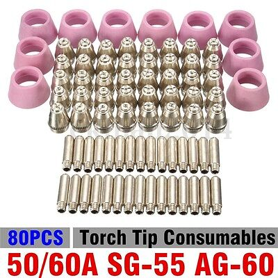 New 80pcs 50/60A SG-55 AG-60 Plasma Cutter Torch Tip Consumables USA SELLER