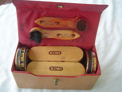 1950s-60 Vintage Kiwi Shoe Shine Compact Travel Kit w/ Brushes Polish & Cloths