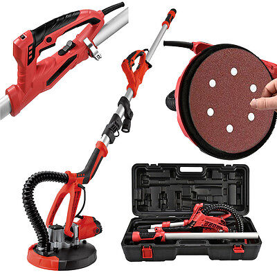 4FT Swivel Electric 5 Speed Drywall Sander 6PCS Sand Paper + Portable Case, Red