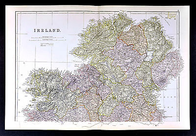 1883 Weller Map - Ireland North - Londonderry Donegal Dundalk Drogheda Omagh