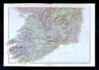 1883 Weller Map - Ireland South - Dublin Galway Limmerick Wexford Tipperary