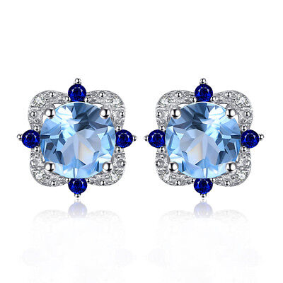 JewelryPalace 2.25ct Natural Sky Blue Topaz Stud Earrings 925 Sterling Silver