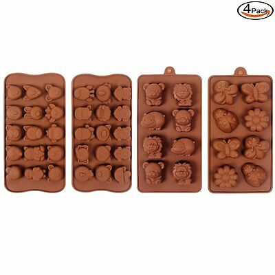 4 Silicone Animal Chocolate Candy Ice Mould Cake Baking Sugarcraft Decor Tools
