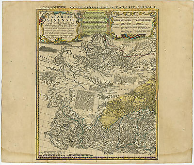 2 Antique Maps-CHINESE TARTARY-JAPAN-KOREA-CHINA-MANCHURIA-Homann Heirs-1749
