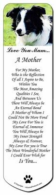 Border Collie Dog 'Love You Mum' Bookmark, Book Mark Christmas Sto, AD-CO69lymBM