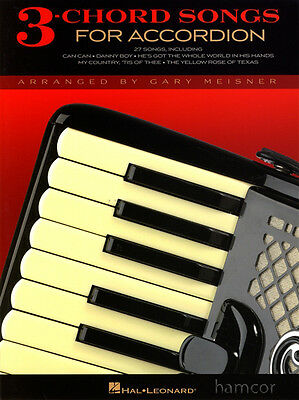 3-Chord Songs for Accordion Very Easy Beginner Sheet Music Book
