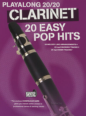 Playalong 20/20 Clarinet 20 Easy Pop Hits Sheet Music Book with Audio Access