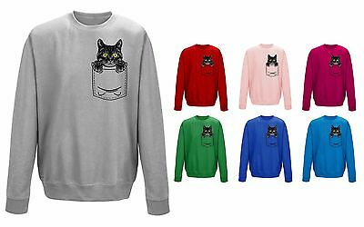 Kids Childrens Cat Kitten Pocket Print Cute Pet Funny Sweater Sweatshirt Jumper