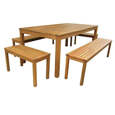 Charles Bentley Hardwood Bench & Table 5pc Set Garden Patio Furniture 6-8 Seat