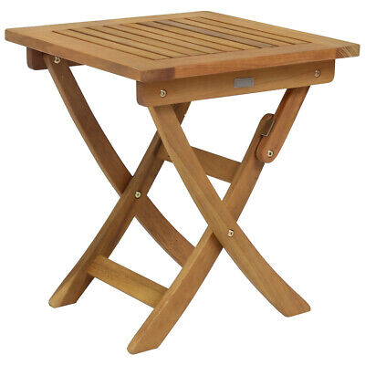 Charles Bentley Small Square Foldable Side Table FSC Hardwood Garden Furniture