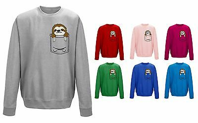 Kids Childrens Pocket Sloth Cute Pet Animal Funny Sweater Sweatshirt Jumper