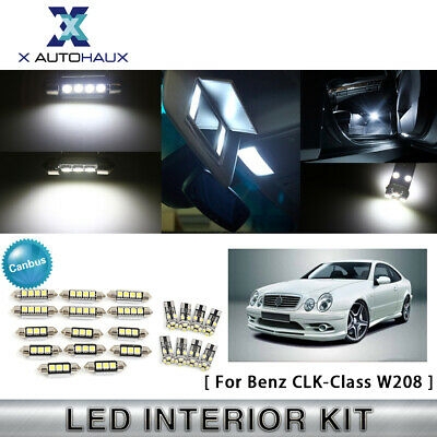 22x for Benz CLK-Class W208 1998-02 White LED Canbus Dome Light Interior Kit