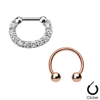 Pair of Septum Ring 16ga Combo with IP Horseshoe Surgical Steel CZ Gems