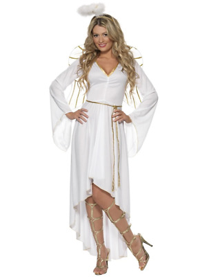Angel Costume White Dress Christmas Fancy Dress Costume Halo Wings Nativity
