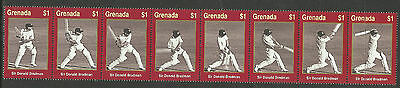 GRENADA 2000 WISDEN CRICKET SIR DON BRADMAN CRICKETER OF CENTURY Strip of 8v MNH