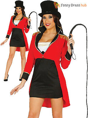 Ladies Ringmaster Costume Adults Circus Fancy Dress Womens Lion Tamer Outfit