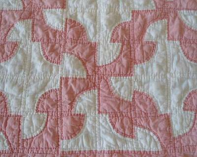 Vintage Drunkards Path Quilt Pink White Hand Stitched Cotton Full