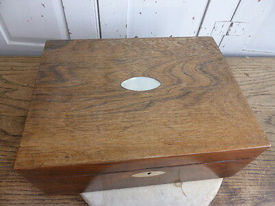 Antique Victorian walnut jewellery trinket box with mother of pearl inlay