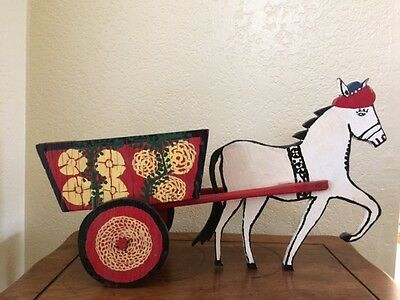 Vintage Folk Art Wood  Donkey With Cart