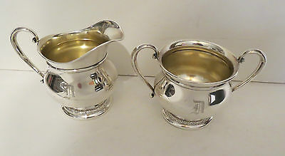 PRELUDE by International STERLING Silver Creamer & Sugar Set Gold Wash Interior