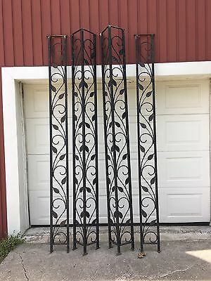 Vintage Wrought Iron Porch Posts 9' Tall 2 Corners 2 Flat Panels Garden Patio