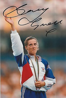 Sally Gunnell Hand Signed Olympics 12x8 Photo.