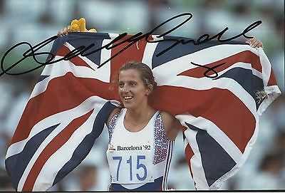 Sally Gunnell Hand Signed Olympics 12x8 Photo 1.