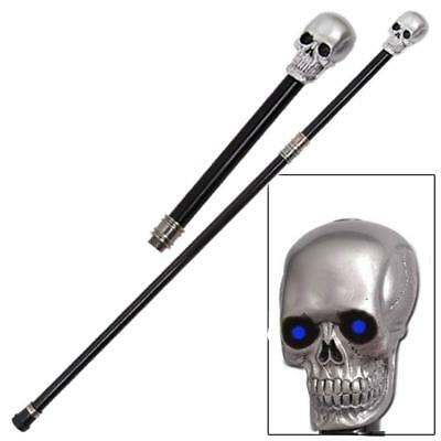 Dark Resurrection Skull Head  Cane Walking Stick with Lighting Eyes